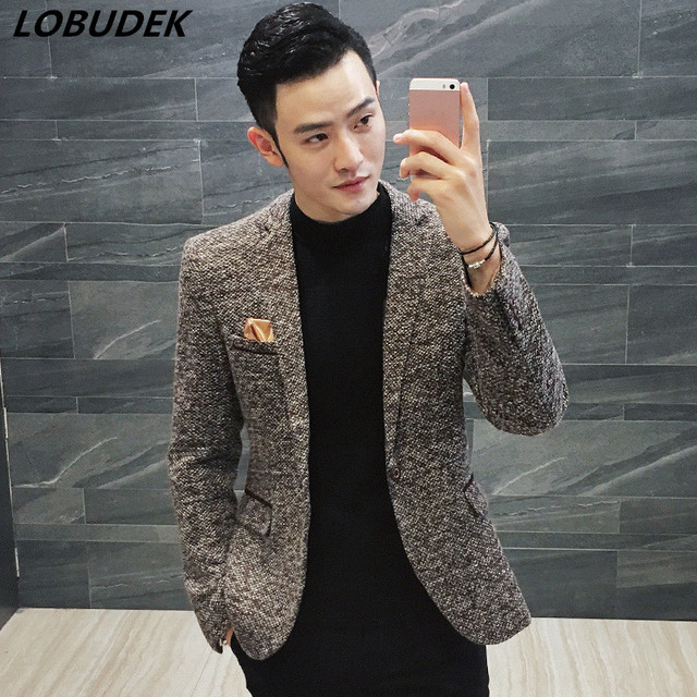 cc6a25428d Estilo coreano masculino de forma magro jaqueta cinza vinho tinto marrom 3  cores primavera blazer casaco