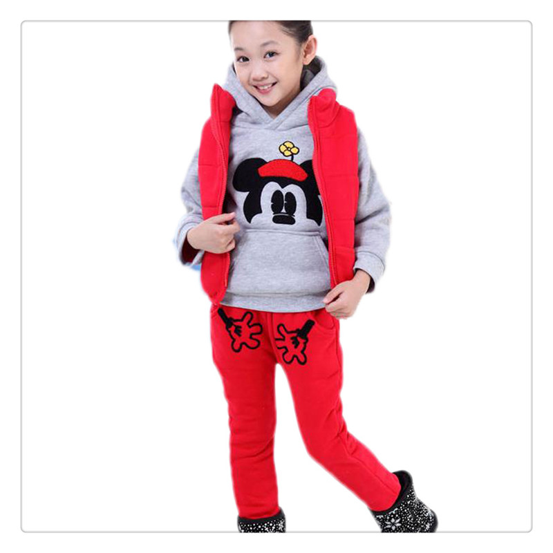 ФОТО 2017 New  Children clothes set Hooded vest coat pant 3pcs Mickey Baby Girls long-sleeved Thick warm coats kids jacket Outerwear