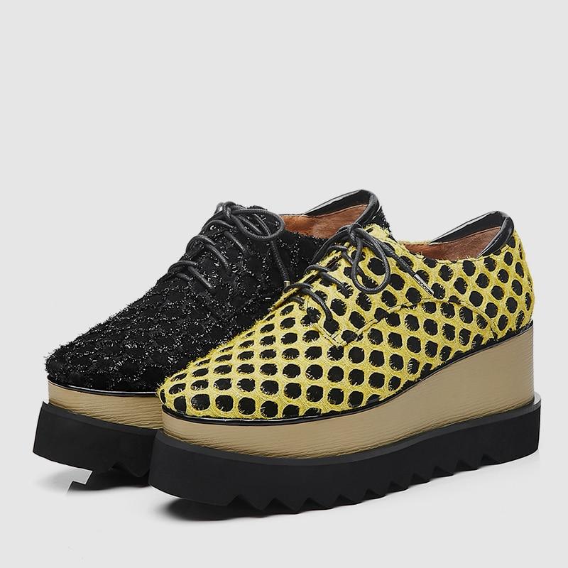 Nouveauté Plateforme Daim En Véritable Sarairis Cuir Femme Hautes Sneakers Polka Femmes Noir Fille Printemps jaune 40 33 2019 Chaussures Dot Grande Taille Onz8dAxzq