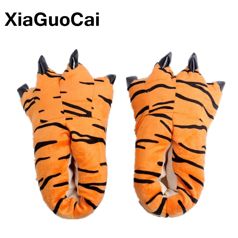 XiaGuoCai Funny Animal Unisex Paw Slippers Winter Warm Christmas Monster Dinosaur Plush Home Slippers Indoor Soft Claw Slippers soft plush big feet pattern winter slippers
