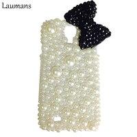 Laumans Volledige Parels Mobiele telefoon case voor samsung galaxy S4 S5 S6 S7 edge s8 plus note 3 4 5 Leuke Strik Strass Terug Cover