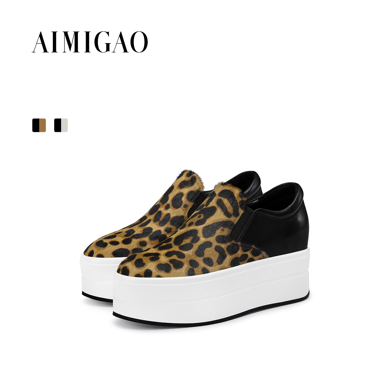 AIMIGAO autumn leopard casual Loafers shoes flat platform women casual shoes 2017 new comfortable thick bottom height increasing fashion tassels ornament leopard pattern flat shoes loafers shoes black leopard pair size 38