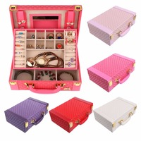 Jewelry Faux Leather Density Board Velvet Mirror Box Storage Organizer Earring Necklace Display Cases Jewelry Boxes