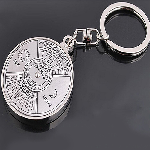 Metal Key Ring Chain 50 Year Perpetual Calendar Keyring