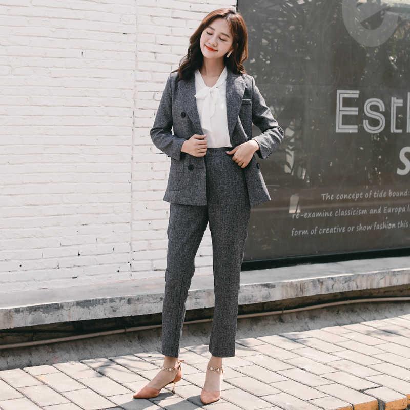 Casual 2 Pieces Set Notched Collar Jacket Blazer & Pencil Pant Classic Deep Grey Women Pant Suit 2018 Autumn high quality