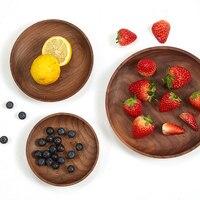Натуральные деревянные круглые тарелки, поднос для посуды, тарелка из акации ручной работы, круглая тарелка для суши, десертная Фруктовая т...