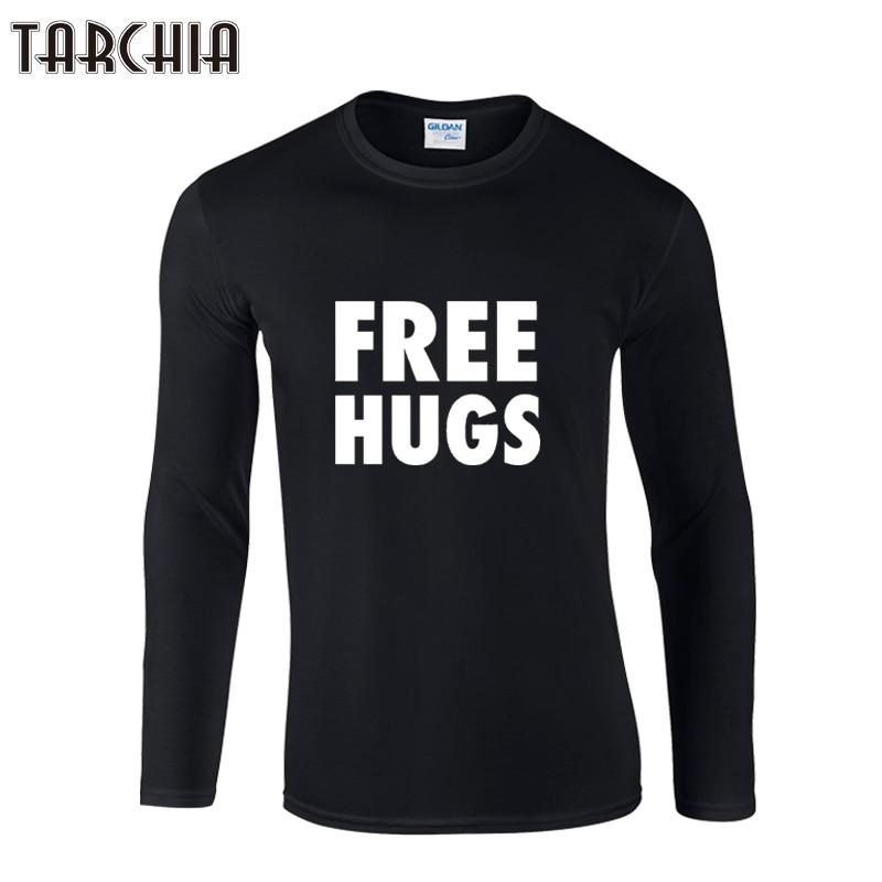 TARCHIA 2019 new arrived fashion free hugs boy men Long Sleeve male t shirt tshirt Men's T-Shirt 100% Cotton Plus Size Homme