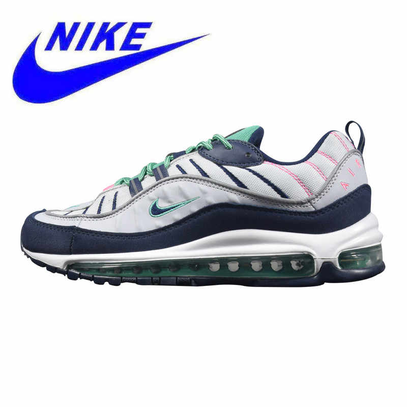 pretty nice 0f99e c621a Original Nike Air Max 98 Men s Running Shoes, White   Black, Shock  Absorption Wear