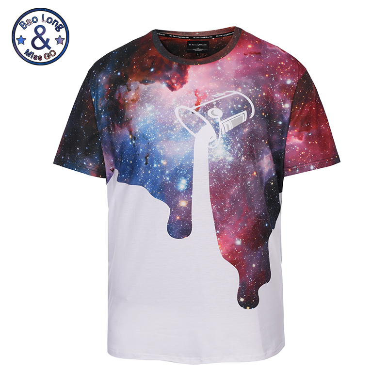 Mr.BaoLong&Miss GO 2018 Europe Fashion Style Men T-Shirt 3D Coloured Starry Sky Short Sleeve 100% Polyester O-Neck Plus Size