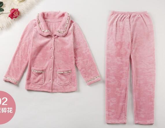 Image 3 - Fdfklak New casual pajamas for women long sleeve flannel pyjamas women large size women's pijamas set thick warm sleepwear suit-in Pajama Sets from Underwear & Sleepwears