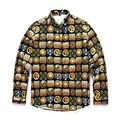 2016 Outono e inverno novo estilo de Europa dos homens tendência da moda de Alta-grade camisa de manga Longa de impressão 3D roupas tops frete grátis