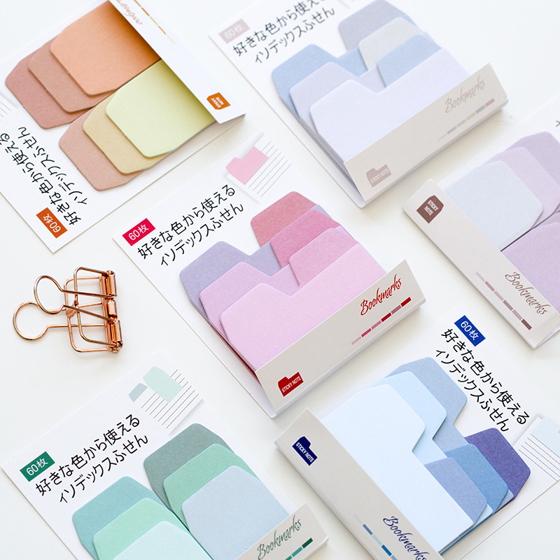 AD28 60 Pages /Pack Colorful Gradient Color Self-Adhesive N Times Indexes Memo Pad Sticky Notes Post It Bookmark Stationery