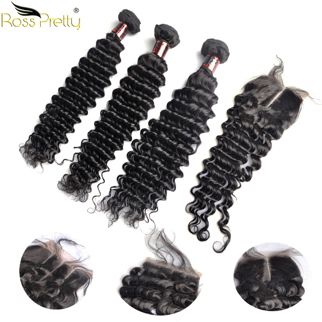 Ross Pretty Remy Deep Wave Brazilian Hair Weave Bundles With Closure Pre Plucked Natural Human Hair with Lace Closure Baby Hair