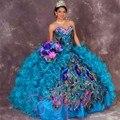 Vestidos Quinceanera Querida Contas Organza vestido de Baile vestido de Penas de Pavão Doce 16 Vestidos do Assoalho-Comprimento Vestidos De 15 Años