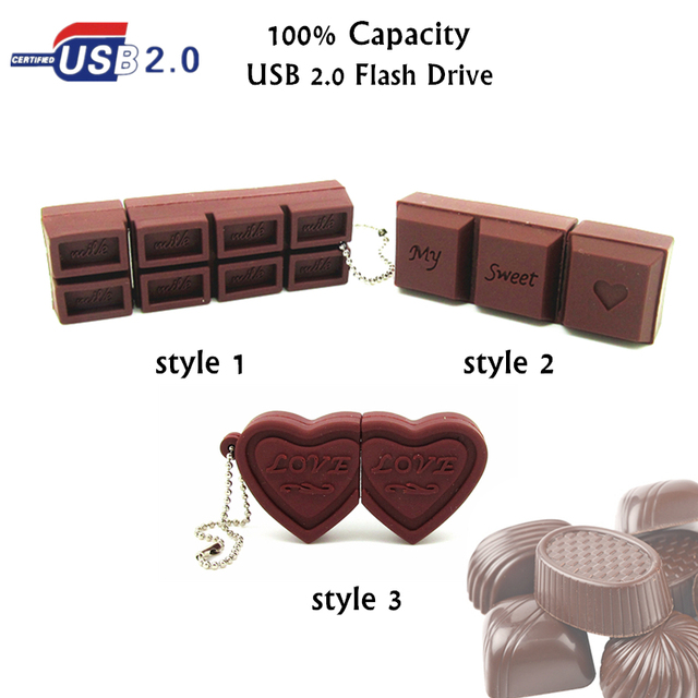 promotion Cartoon Love Sweet Chocolate Pen drive real capacity usb flash drive memory stick pendrive  4g/8g/16g/32g