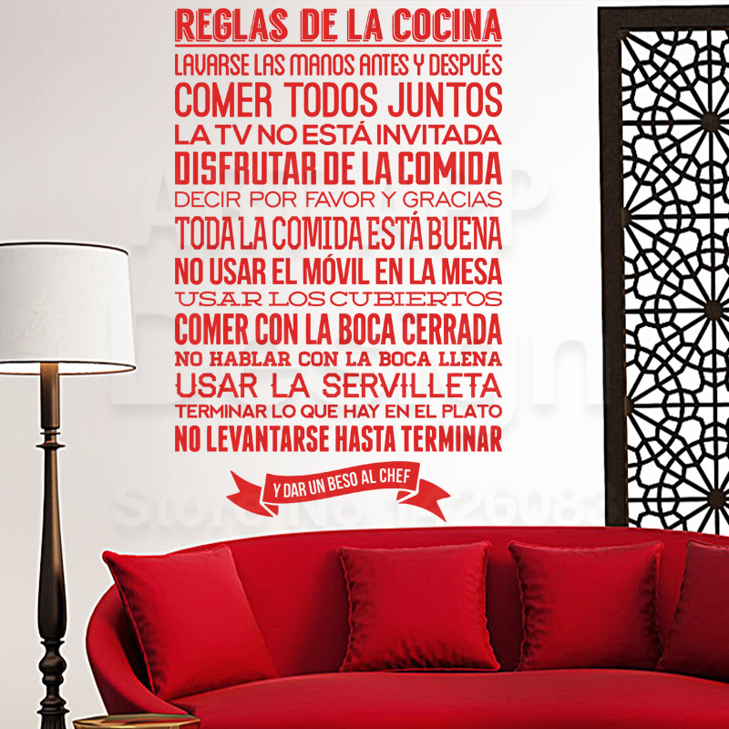 Art new design PVC home decor cheap Spanish Home Rules wall sticker ...