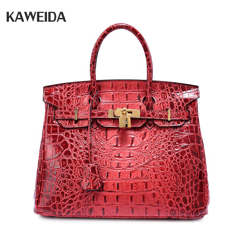 Brand Genuine Leather Women Large Shoulder Bag Female Crocodile Pattern Tote Bag With Tassel Women Handbag stripe pattern off shoulder long sleeves waist tie playsuit with tassel detail page 6