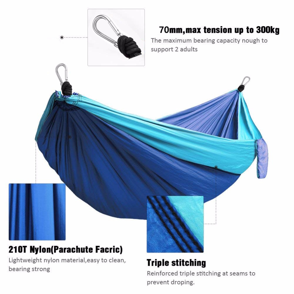 Image 2 - 210T Nylon Parachute Hammock Light Weight Outdoor Camping Portable Single Hammock with hammock ropes and hammock carabiners-in Hammocks from Furniture