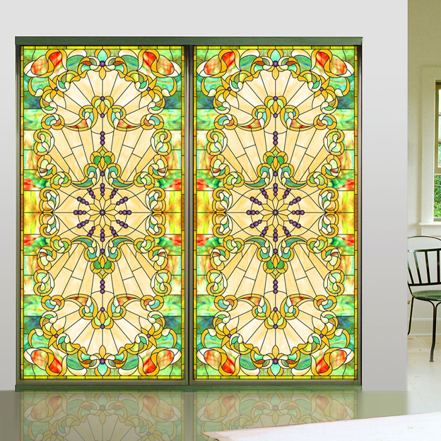 European Churches Color Frosted Glass Vials Balcony Bathroom Windows Bathroom Mats Wardrobe Shading Stickers