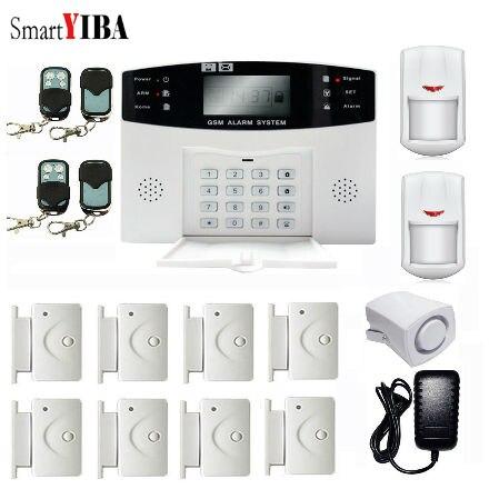 SmartYIBA Alarmes de Sécurité À Domicile GSM Système D'alarme Porte Ouverte Rappeler Capteur Mouvement Capteur Filaire Sirène D'alarme Kits