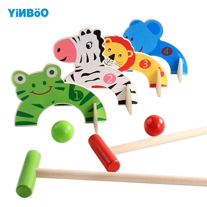 Funny Outdoor Toys Baby Golf Toy Cartoon Wood Croquet Game
