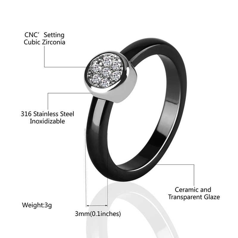 รอบ 3 MM สีขาวสีดำเซรามิคแหวนแฟชั่นผู้หญิงเครื่องประดับงานแต่งงานแหวนอินเดียคริสตัล Smooth Comfort ขนาดแหวน 6 7 8 9