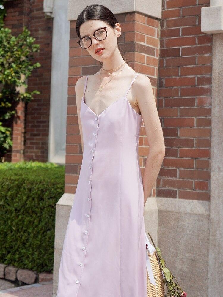 LYNETTE'S CHINOISERIE été Design Original femmes français jeune fille mignon vacances Style violet clair Spaghetti sangle robes