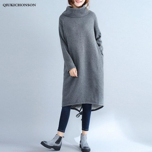 9b1c26a3df5 Autumn Winter Dresses Long Sleeve 2018 Casual Loose Women Plus Size Fleece Hoodie  Dress Turtleneck Midi