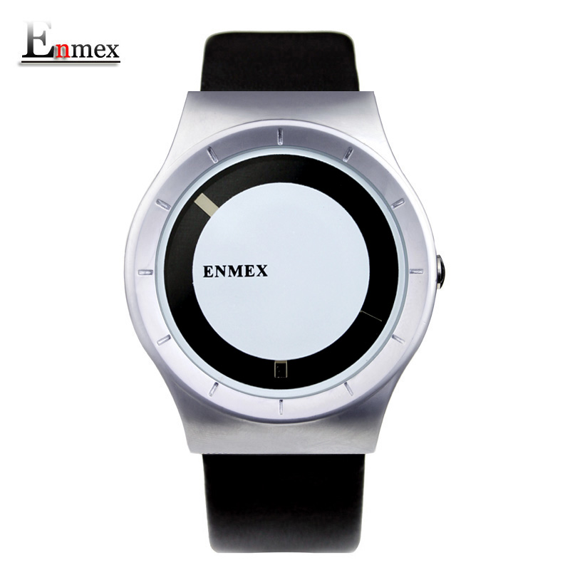 2017 gift Enmex special design wristwatch creative dial leather simple fashion for young silver colour quartz watches 2017 new gift enmex hit color steel frabic strap creative dial changing patterns simple fashion for young peoples quartz watches