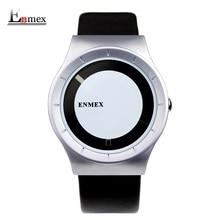 2017 подарок enmex специальная конструкция наручные часы творческий циферблат кожа просто мода для молодых серебристый цвет кварцевые часы