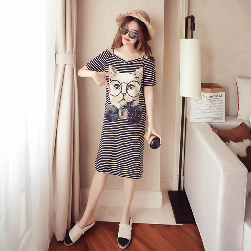 Sexy Cotton Summer Dress Strap Shoulder Cartoon Cat Dress Casual Lady Cold Shoulder Short Sleeve Split Dress Large Size Vestidos