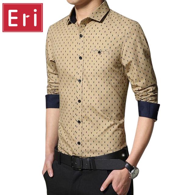 2017 hombres de marca camiseta de algodón camisa masculina sociales clothing largo Azul de Color Caqui de manga Chemise Homme Tamaño Grande 5XL 8XL 7XL X492
