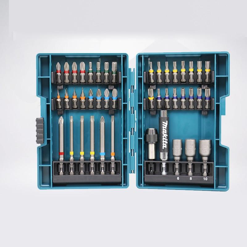Japan Makita Drill Bit Set 43 PCS Set Screwdriver Set Colour Screwdriver Head Cross Flower Type Head Hexagon Socket Tool Parts