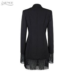 Image 4 - Adyce gabardina ceñida para mujer, abrigos negros con cuello en V profundo, abrigos de doble botonadura, abrigos de manga larga con borla a la moda para discoteca 2020