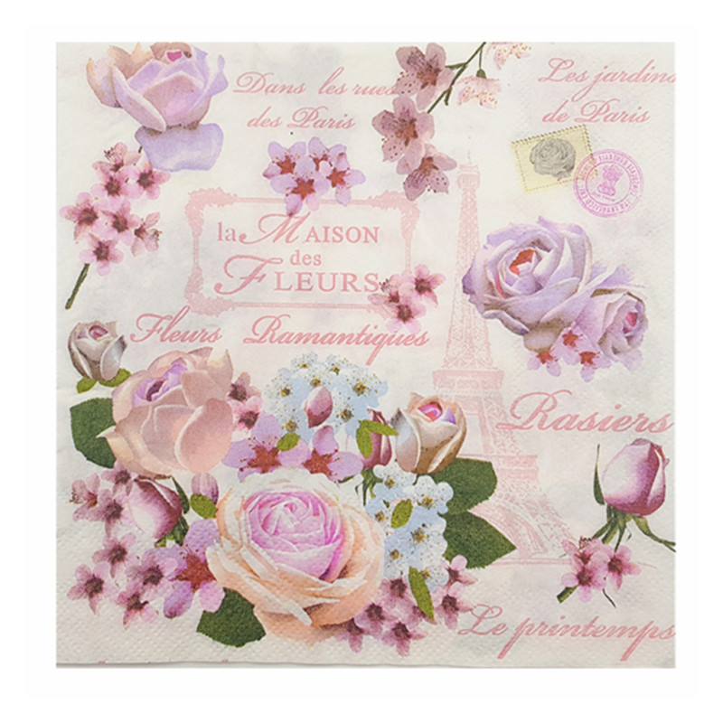 20 Vintage Napkins Paper Tissue Pink White Flowers Decoupage Wedding Party Christmas Home Cafe Table Dinner Decor Serviettes