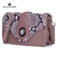 DAVIDJONES women handbag pu leather female shoulder bags small lady serpentine crossbody bag girl messenger bag drop shipping