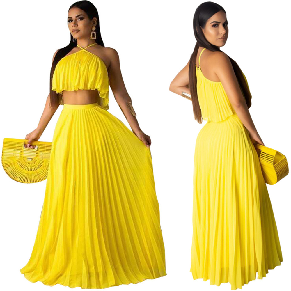 New Slinged Pleated Open Back Navel Chiffon Shirt. Floor-length A-line Pleated Skirt Double-layer Fabric Fashion Skirt Two-piece