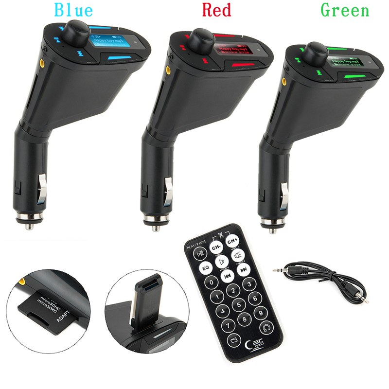 KWOKKER Car MP3 Player Wireless FM Transmitter Modulator with USB SD MMC LCD With Remote Car MP3 Player Wireless FM Modulato image