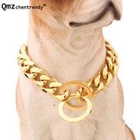 10mm de ancho 12-34 pulgadas de Oro Silver Tone Doble Curb Cubana Pet Collar Enlace Acero Inoxidable 316L collar de Cadena De Perro Al Por Mayor cuello