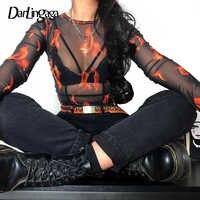 Darlingaga Black cropped mesh top female t-shirt transparent flame print fashion harajuku summer tshirt 2019 clothes short tees