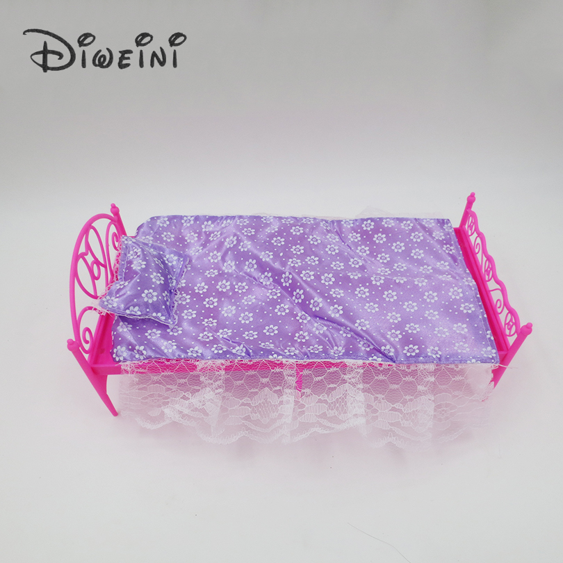Toys-lace-bed-Barbie-Dollhouse-life-furniture-for-girls-Doll-Accessories-birthday-gift-dolls-for-girls-Pink-Purple-random-1