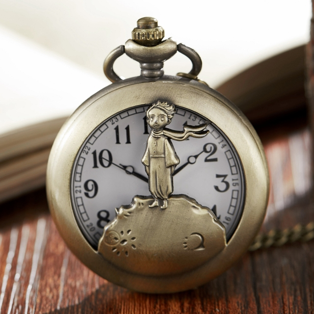 Vintage Bronze The Little Prince Mens Quartz Pocket Watch With Pendent Necklace