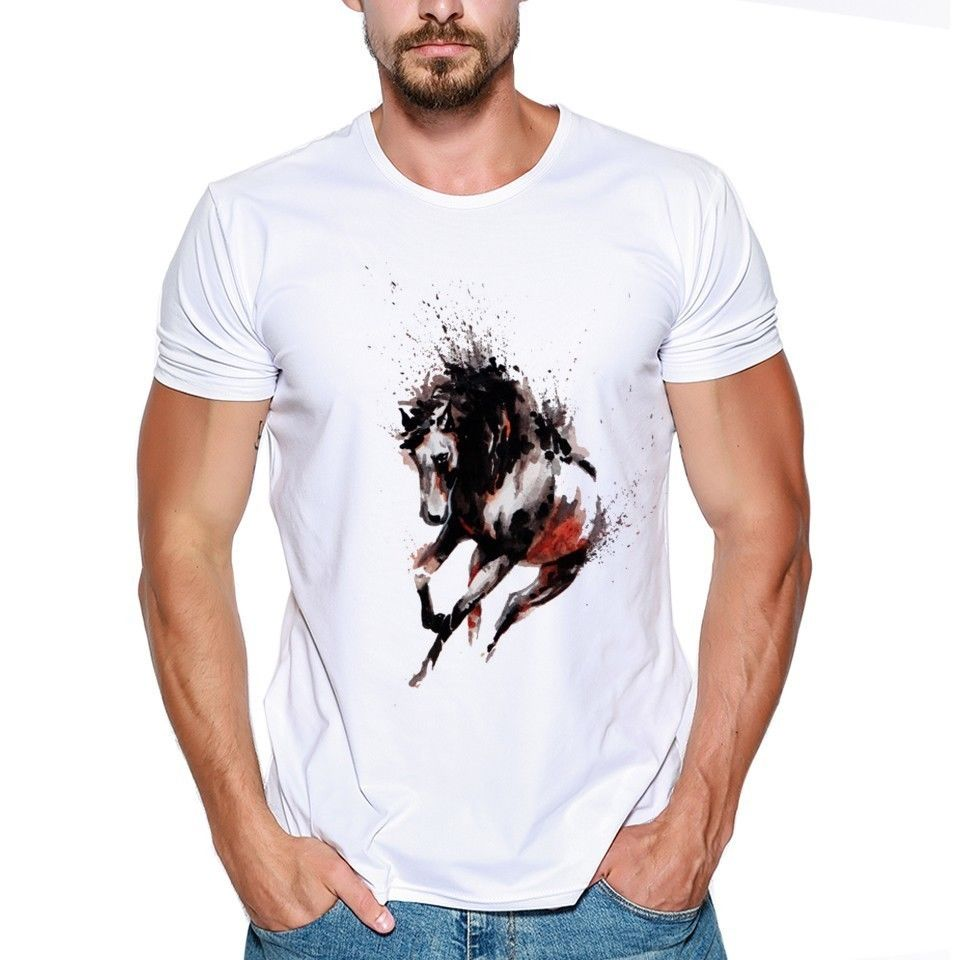 Runninger Wild Horse Watercolor Artwork Animaler Lovers Funny Joker Men T Shirt Tee