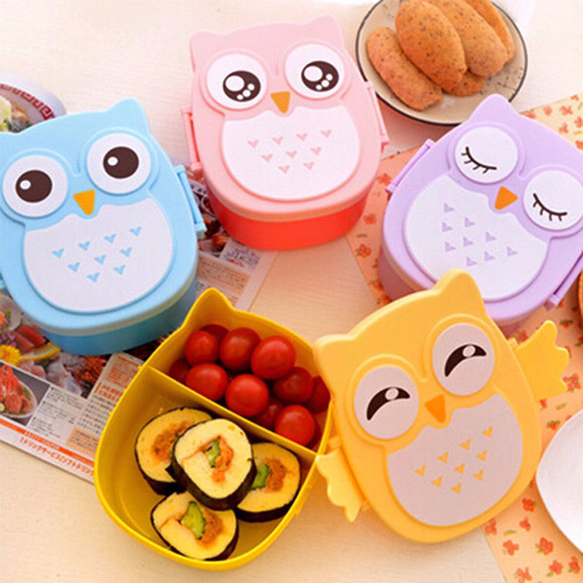 Sevimli karikatür baykuş öğle yemeği yemek kabı saklama kutusu taşınabilir çocuklar öğrenci Bento yemek kutusu kutu konteyner bölmeleri ile kılıf