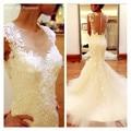 Free Shipping 2016 Ivory Colour Vestidos De Noiva Lace Applique Mermaid Wedding Dresses Vintage Bridal Gown Chapel Train HS308