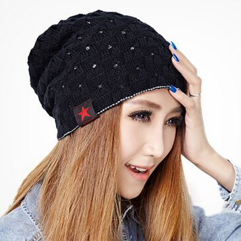 1 Pcs 2017 New Pentagram Autumn Winter Warm Knitted Cap Acrylic And Wool Double   Skullies     Beanies   Two Sides Hats For Men Women