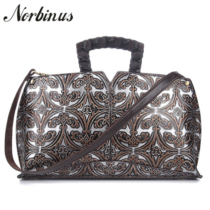 все цены на Norbinus Brand Women Genuine Leather Handbags Female Floral Messenger Shoulder Bags Vintage Designer Top-Handle Bags Tote Hobos