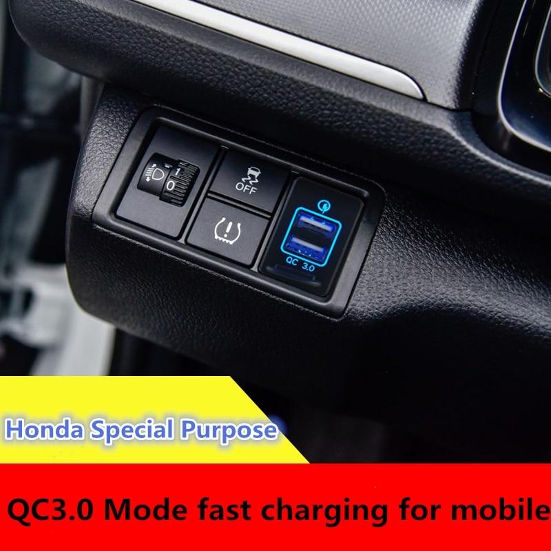 1PcsNew  QC 3.0 Quickly Charging For Honda  Dual USB Car Charger Fast Charging 2 USB Port Auto Adapter LED  Socket  12-24V