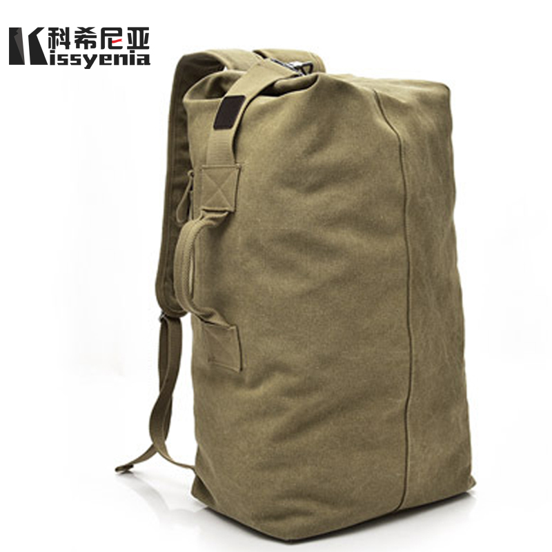 Kissyenia Canvas Travel Duffle Bag Men Military 55cm High Capacity Travel Backpack Handle Luggage Backpack Overnight