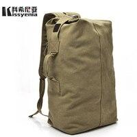 Kissyenia Canvas Travel Duffle Men Military 55cm Large Capacity Bags Travel Bucket Handle Luggage Backpack Overnight Bags KS1020